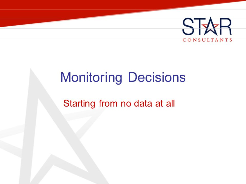 Monitoring Decisions Starting from no data at all