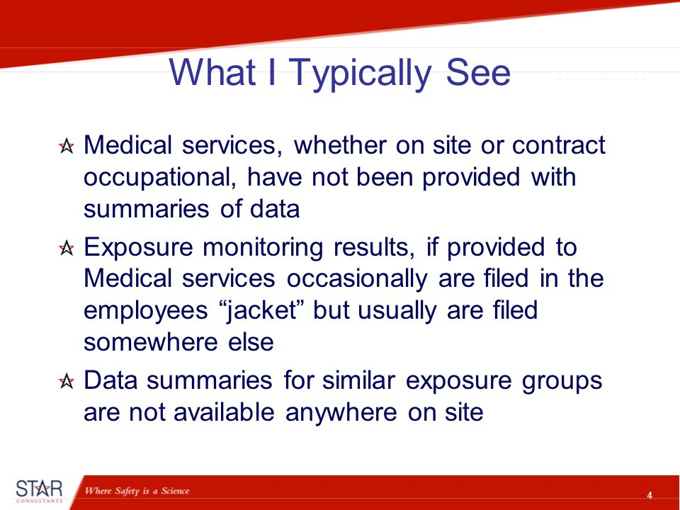 5 What I Typically See IH Consultants rarely are contracted to review all prior data and provide summaries and recommendations IH Consultants rarely are contracted to fully document all materials by similar exposure group, the toxicity, usage and controls – resulting in a fully documented QEA Safety staff rarely have a process to review new materials to make a determination if monitoring is needed before full production