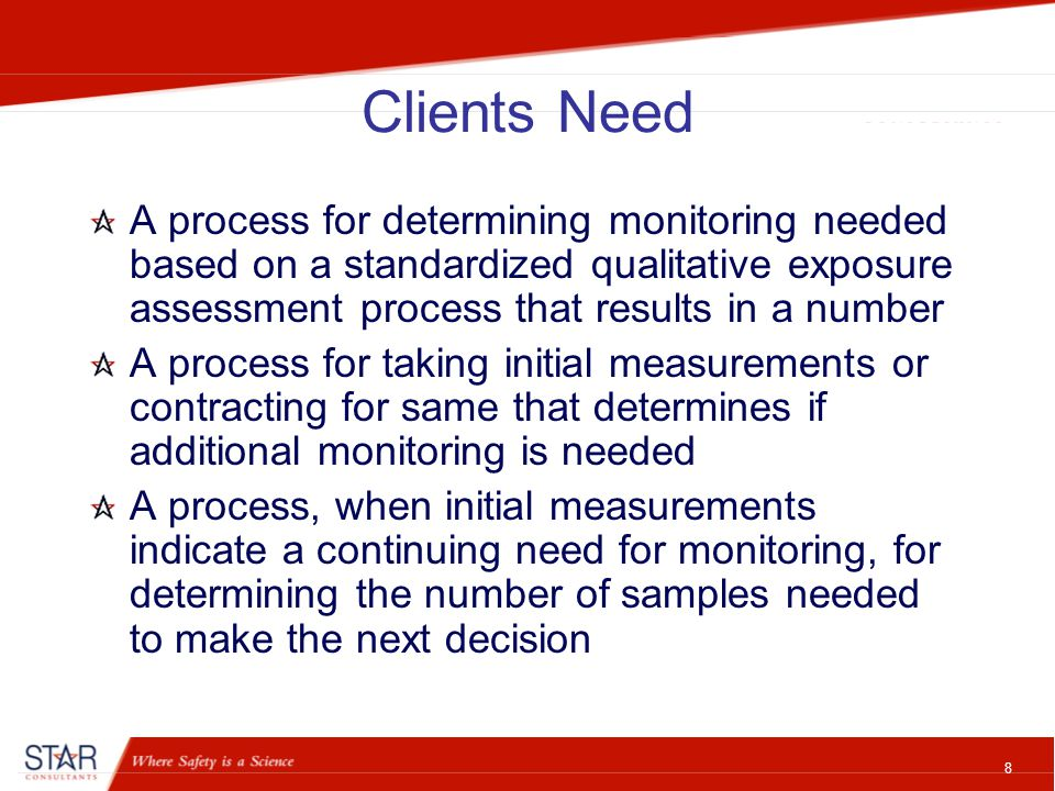 8 Clients Need A process for determining monitoring needed based on a standardized qualitative exposure assessment process that results in a number A process for taking initial measurements or contracting for same that determines if additional monitoring is needed A process, when initial measurements indicate a continuing need for monitoring, for determining the number of samples needed to make the next decision