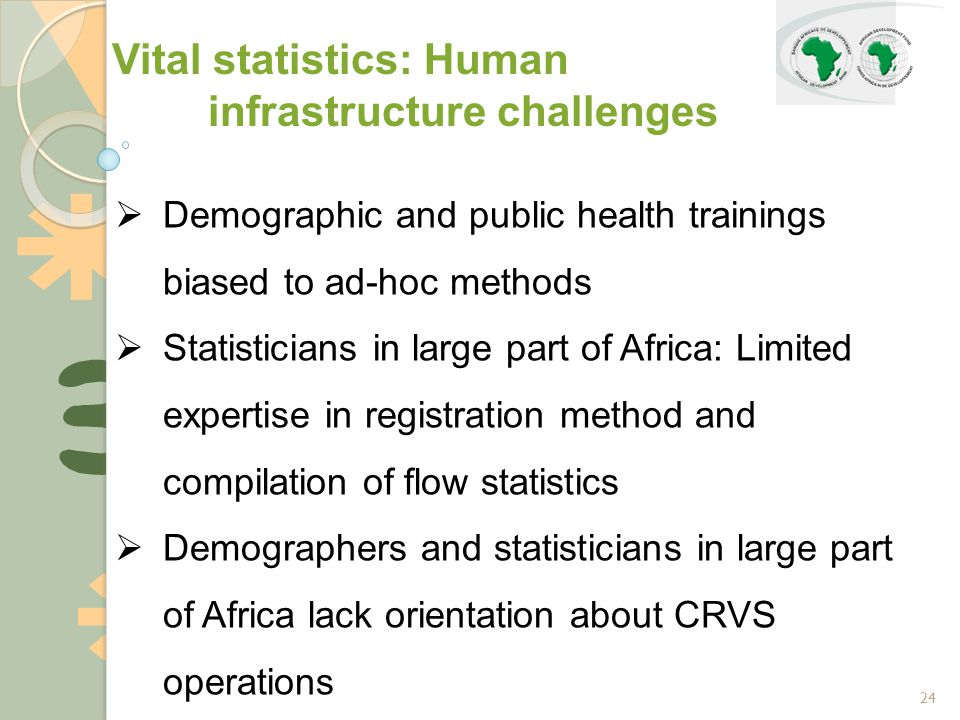 24  Demographic and public health trainings biased to ad-hoc methods  Statisticians in large part of Africa: Limited expertise in registration method and compilation of flow statistics  Demographers and statisticians in large part of Africa lack orientation about CRVS operations Vital statistics: Human infrastructure challenges