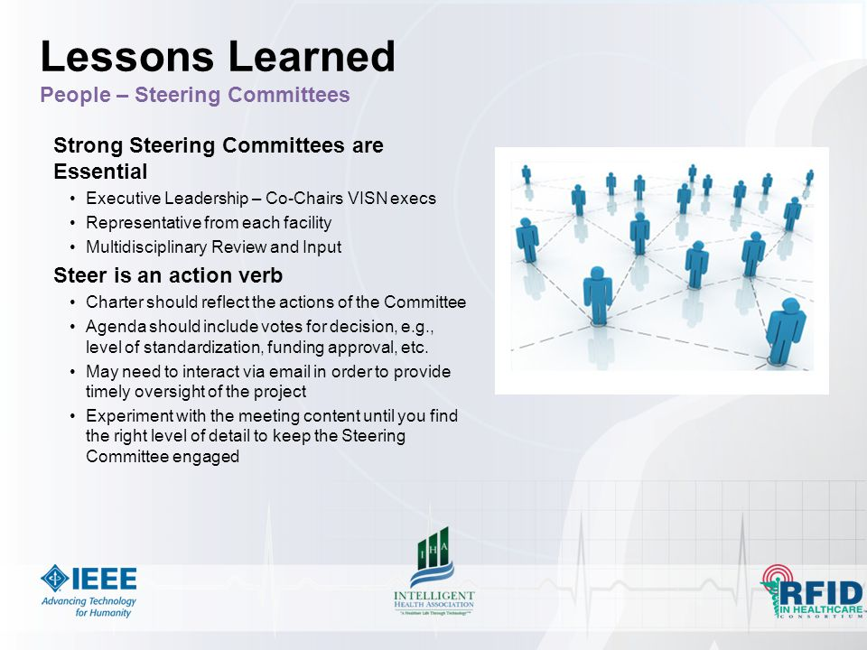 Strong Steering Committees are Essential Executive Leadership – Co-Chairs VISN execs Representative from each facility Multidisciplinary Review and Input Steer is an action verb Charter should reflect the actions of the Committee Agenda should include votes for decision, e.g., level of standardization, funding approval, etc.