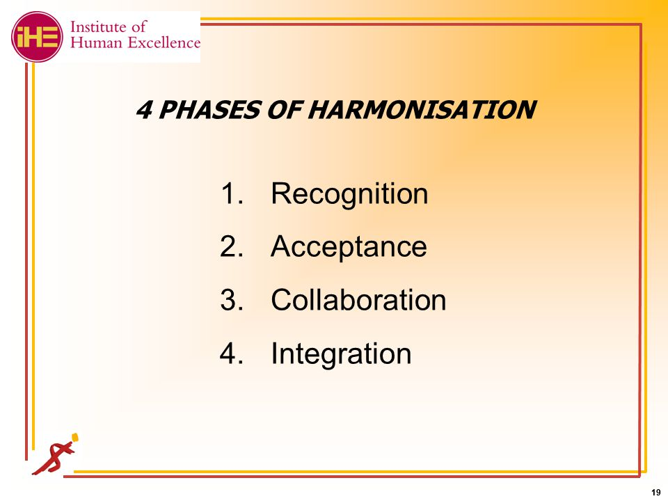 19 4 PHASES OF HARMONISATION 1.Recognition 2.Acceptance 3.Collaboration 4.Integration