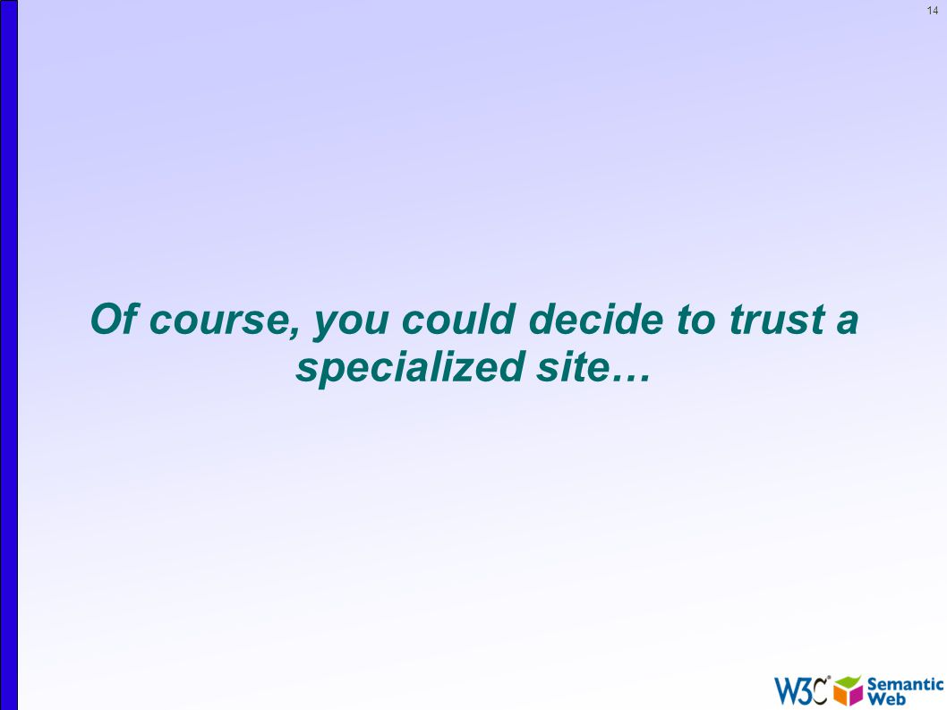 14 Of course, you could decide to trust a specialized site…