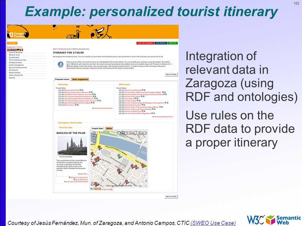 182 Example: personalized tourist itinerary  Integration of relevant data in Zaragoza (using RDF and ontologies)  Use rules on the RDF data to provide a proper itinerary Courtesy of Jesús Fernández, Mun.