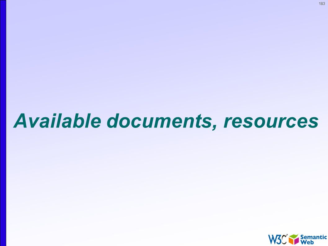 183 Available documents, resources