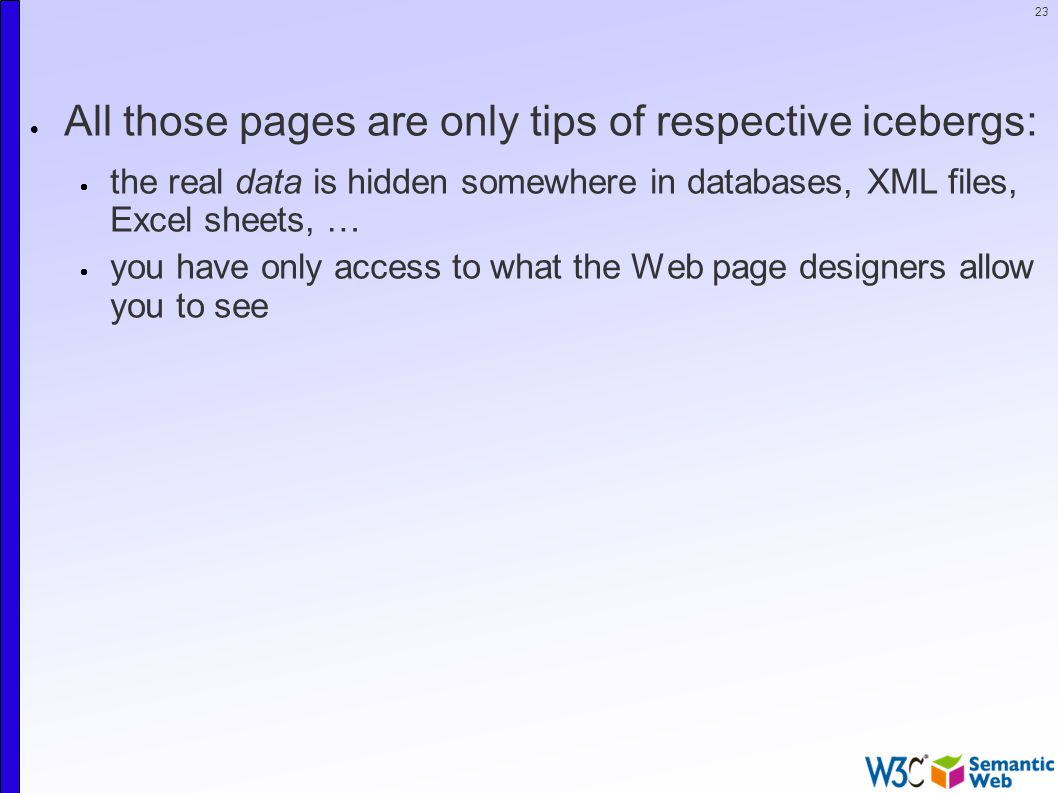 23  All those pages are only tips of respective icebergs:  the real data is hidden somewhere in databases, XML files, Excel sheets, …  you have only access to what the Web page designers allow you to see