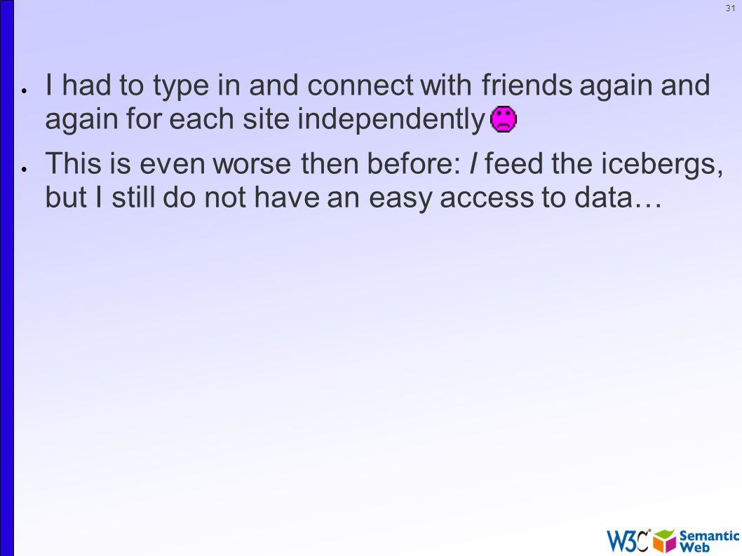 31  I had to type in and connect with friends again and again for each site independently  This is even worse then before: I feed the icebergs, but I still do not have an easy access to data…