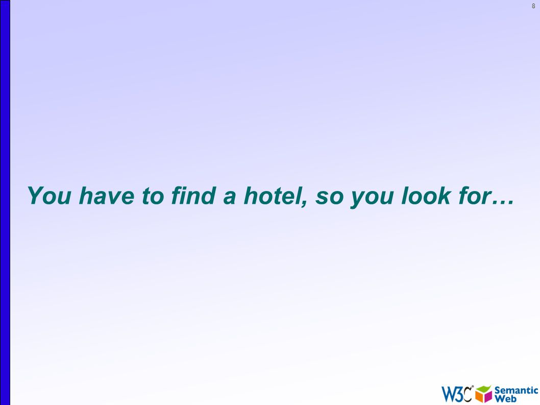 8 You have to find a hotel, so you look for…