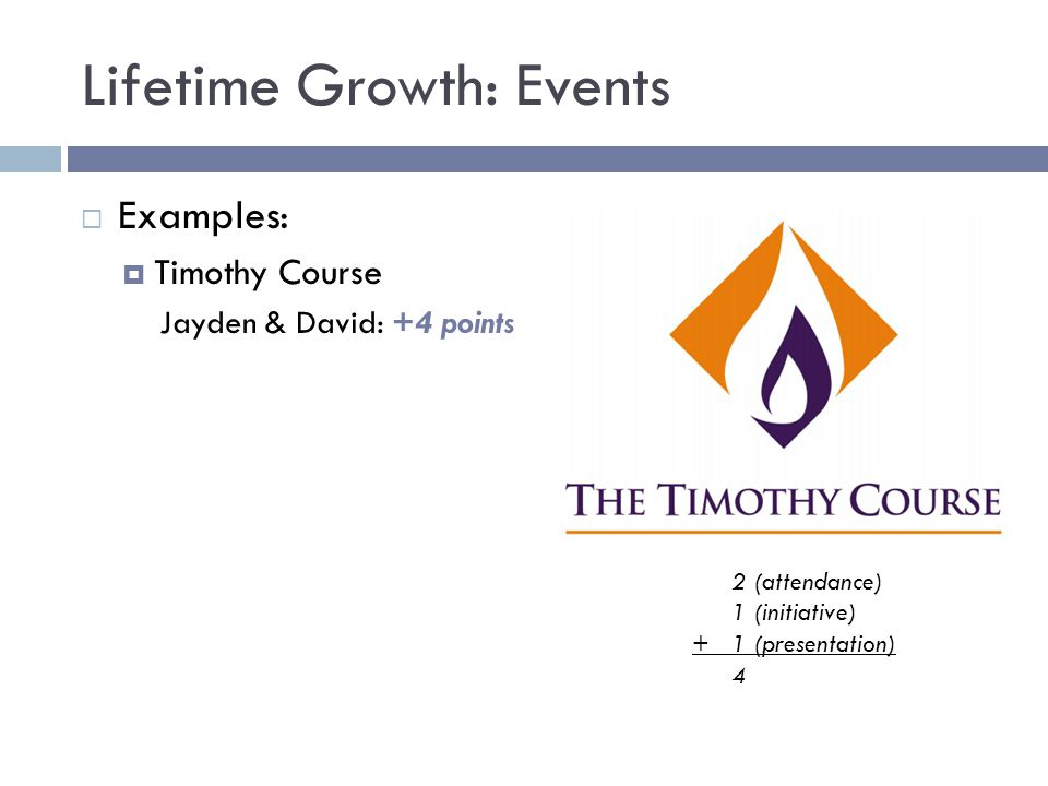Lifetime Growth: Events  Examples:  Timothy Course Jayden & David: +4 points 2 (attendance) 1 (initiative) + 1 (presentation) 4