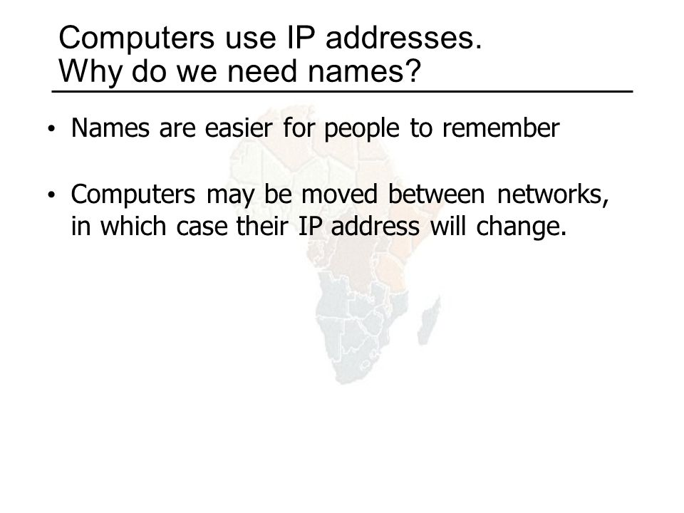 Computers use IP addresses. Why do we need names.