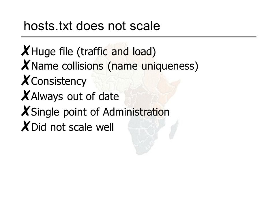 hosts.txt does not scale ✗ Huge file (traffic and load) ✗ Name collisions (name uniqueness) ✗ Consistency ✗ Always out of date ✗ Single point of Administration ✗ Did not scale well