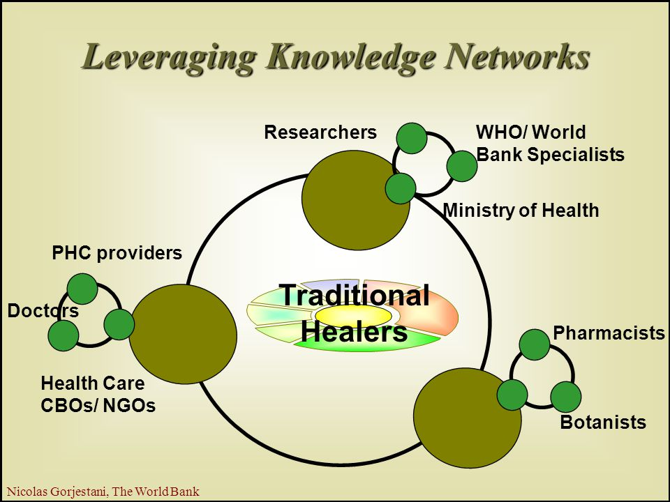 24 Nicolas Gorjestani, The World Bank Botanists Ministry of Health Doctors Pharmacists WHO/ World Bank Specialists Researchers PHC providers Health Care CBOs/ NGOs Traditional Healers Leveraging Knowledge Networks