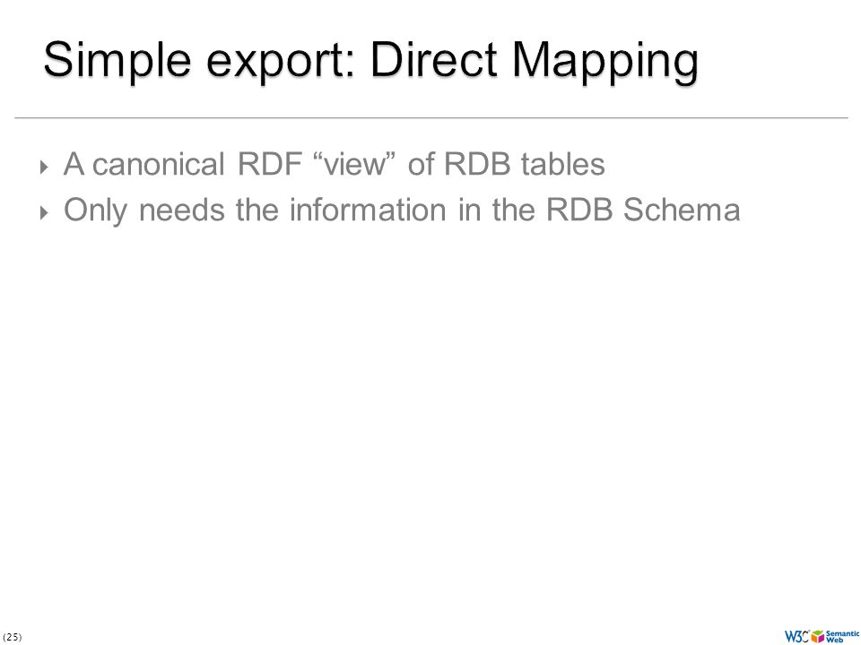 (25)  A canonical RDF view of RDB tables  Only needs the information in the RDB Schema