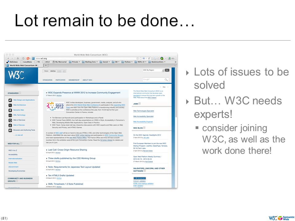 (81)  Lots of issues to be solved  But… W3C needs experts.