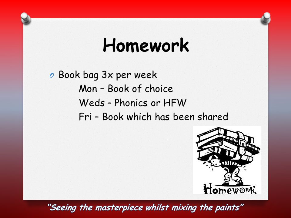 Homework O Book bag 3x per week Mon – Book of choice Weds – Phonics or HFW Fri – Book which has been shared
