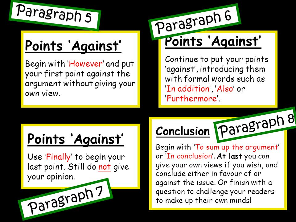 Points 'Against' Begin with 'However' and put your first point against the argument without giving your own view.