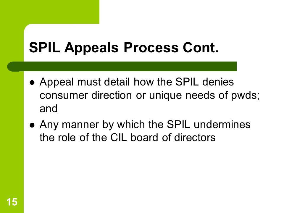 15 SPIL Appeals Process Cont.