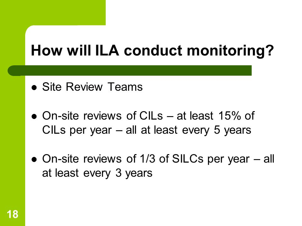 18 How will ILA conduct monitoring.