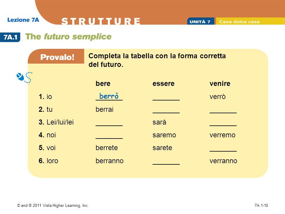 © and ® 2011 Vista Higher Learning, Inc.7A.1-10 1. io 2. tu 3. Lei/lui/lei 4. noi 5. voi 6. loro bere _______ berrai _______ berrete berranno essere _