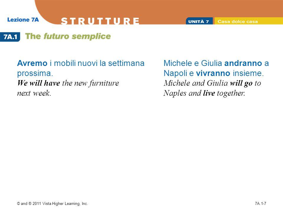 © and ® 2011 Vista Higher Learning, Inc.7A.1-7 Avremo i mobili nuovi la settimana prossima.