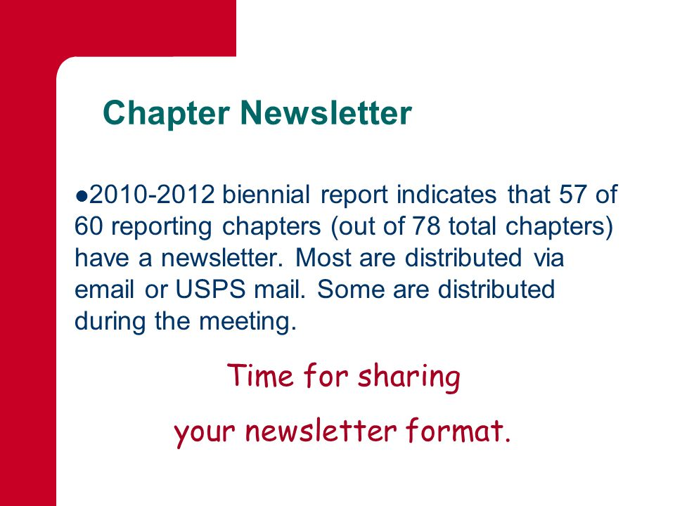 Chapter Newsletter biennial report indicates that 57 of 60 reporting chapters (out of 78 total chapters) have a newsletter.
