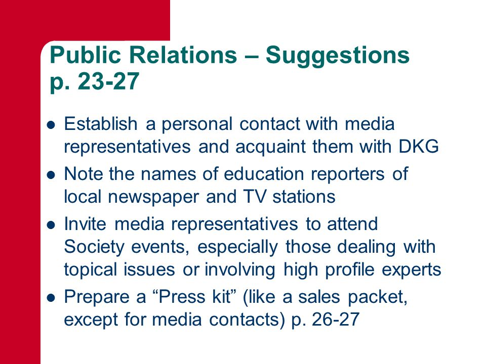 Public Relations – Suggestions p.
