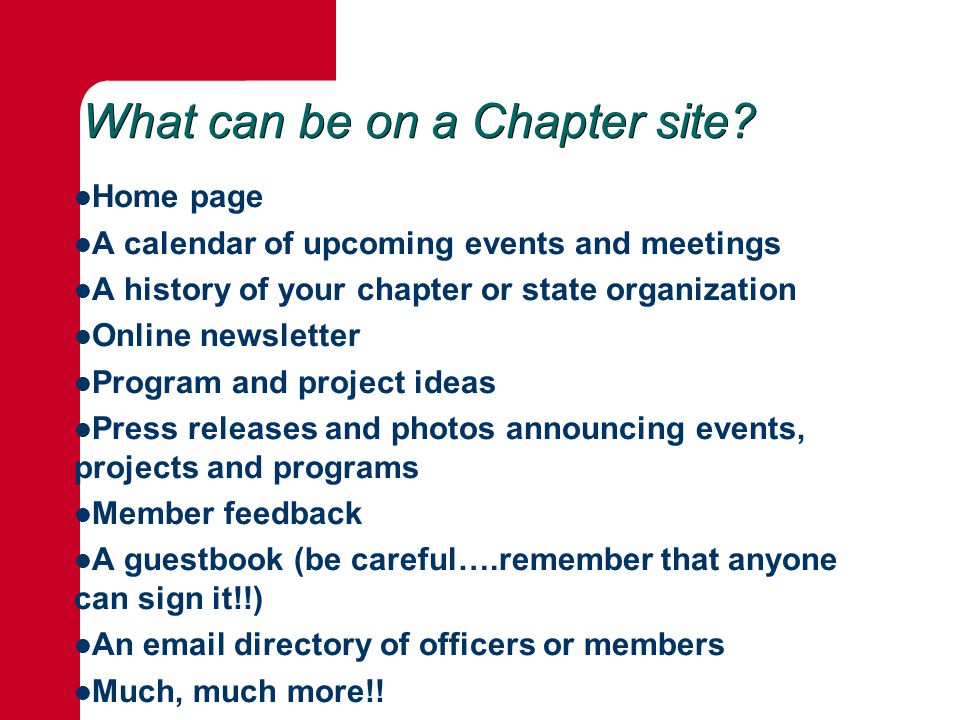 What can be on a Chapter site.
