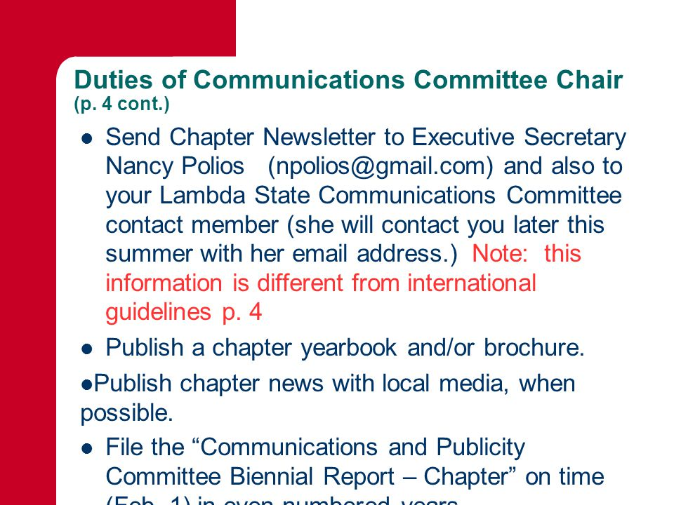 Duties of Communications Committee Chair (p.