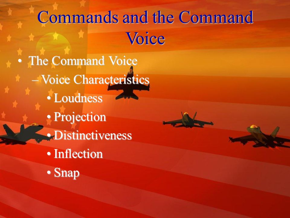 Commands and the Command Voice CommandsCommands –Types of Commands Drill CommandsDrill Commands Supplementary CommandsSupplementary Commands Informational CommandsInformational Commands –General Rules for Commands