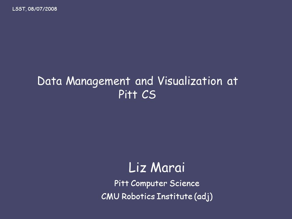 Liz Marai 07/08/08 Data Management and Visualization at Pitt CS Liz Marai Pitt Computer Science CMU Robotics Institute (adj) LSST, 08/07/2008