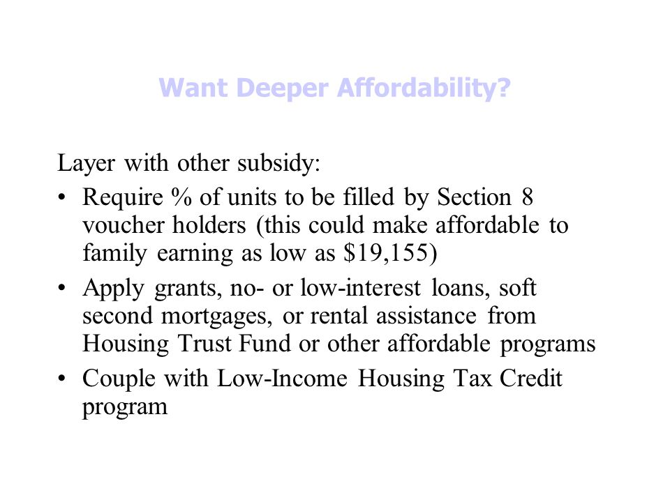 Want Deeper Affordability.