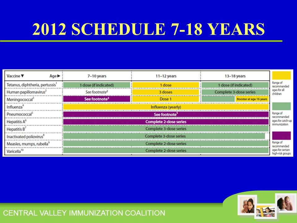 CENTRAL VALLEY IMMUNIZATION COALITION 2012 SCHEDULE 7-18 YEARS