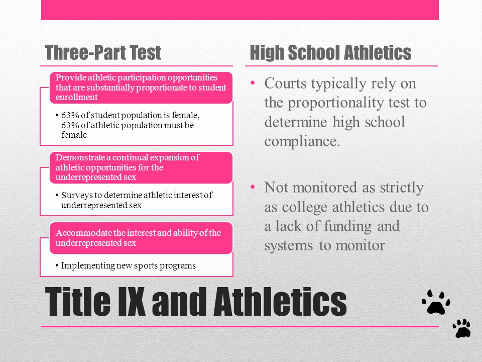 Title IX and Athletics Three-Part TestHigh School Athletics Courts typically rely on the proportionality test to determine high school compliance.