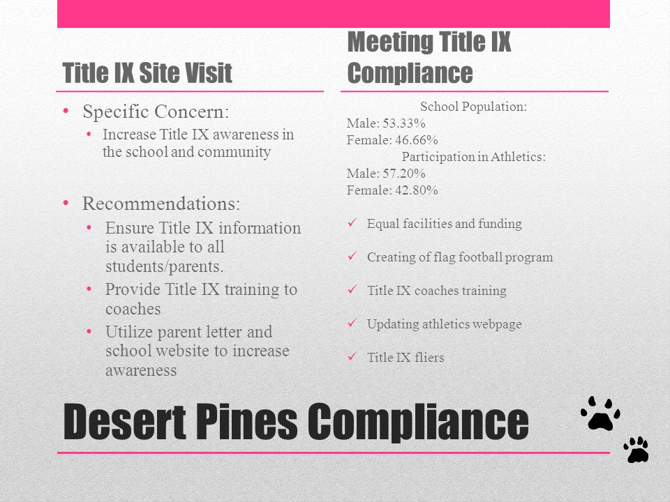 Desert Pines Compliance Title IX Site Visit Specific Concern: Increase Title IX awareness in the school and community Recommendations: Ensure Title IX information is available to all students/parents.