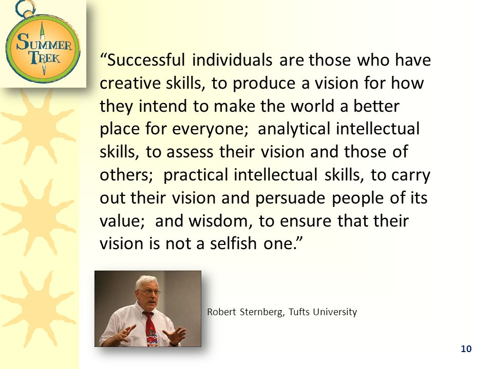 Successful individuals are those who have creative skills, to produce a vision for how they intend to make the world a better place for everyone; analytical intellectual skills, to assess their vision and those of others; practical intellectual skills, to carry out their vision and persuade people of its value; and wisdom, to ensure that their vision is not a selfish one. Robert Sternberg, Tufts University 10