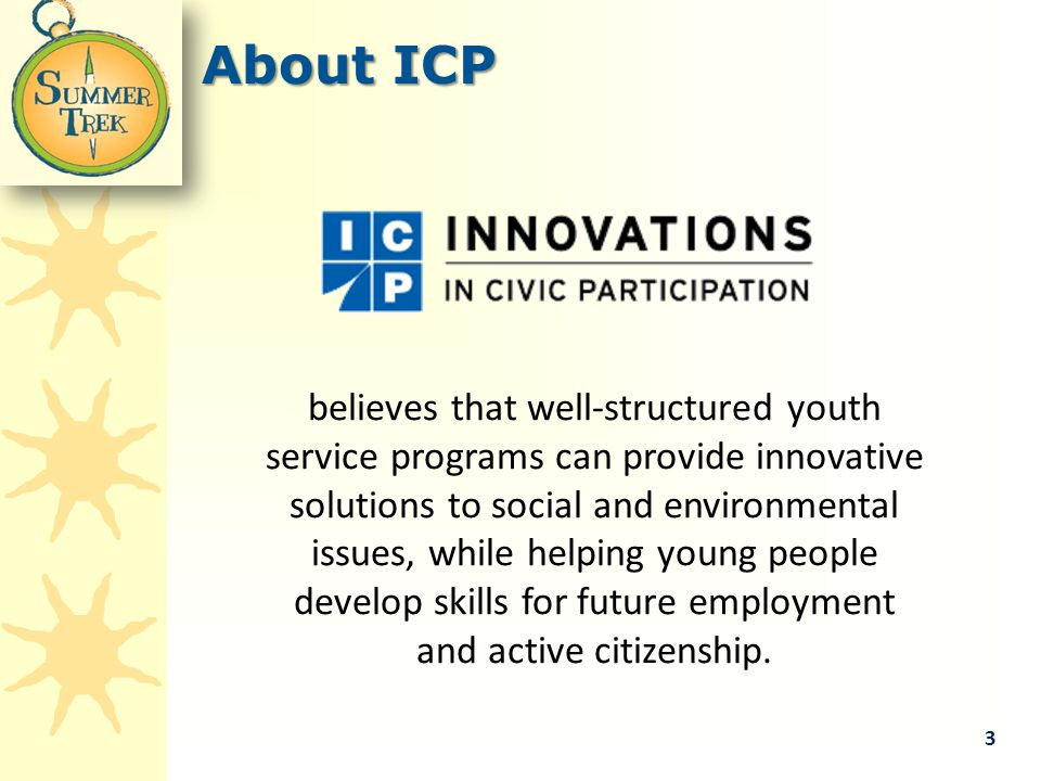 About ICP believes that well-structured youth service programs can provide innovative solutions to social and environmental issues, while helping young people develop skills for future employment and active citizenship.