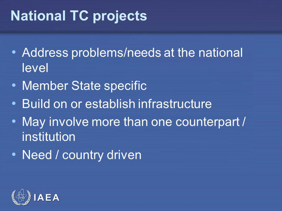 IAEA National TC projects Address problems/needs at the national level Member State specific Build on or establish infrastructure May involve more than one counterpart / institution Need / country driven