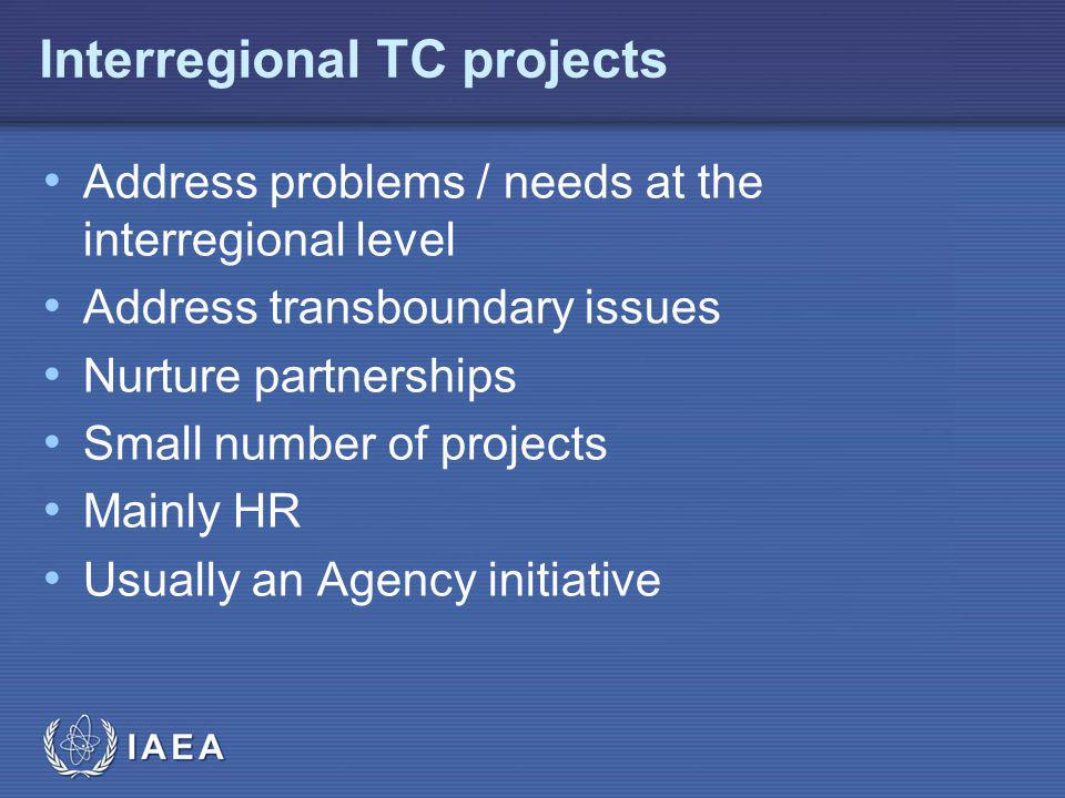 IAEA Address problems / needs at the interregional level Address transboundary issues Nurture partnerships Small number of projects Mainly HR Usually an Agency initiative Interregional TC projects