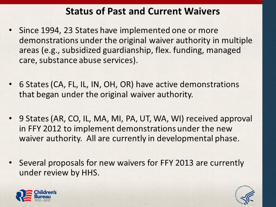 Status of Past and Current Waivers Since 1994, 23 States have implemented one or more demonstrations under the original waiver authority in multiple areas (e.g., subsidized guardianship, flex.