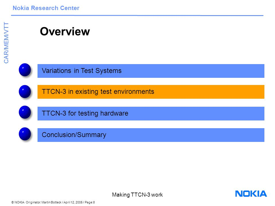© NOKIA Originator: Martin Botteck / April 12, 2005 / Page:19 Nokia Research Center CAR/MEM/VTT Making TTCN-3 work Summary/Conclusions Further deployment of TTCN-3 needs convincing advantages: –integration into existing test environments interfaces, replaceable components from heterogenous test systems –handling of variants through specific coding constructs –automated generation of test cases from abstract models –cover HW as well as SW through adequate representation in SW models