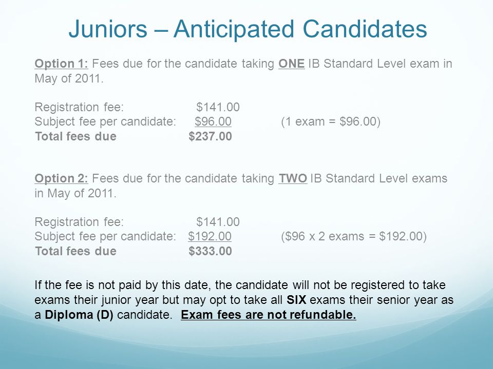 Juniors – Anticipated Candidates Option 1: Fees due for the candidate taking ONE IB Standard Level exam in May of 2011.