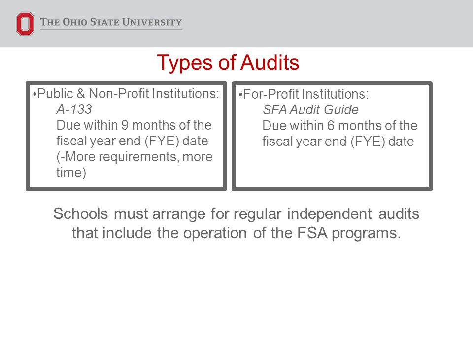 Types of Audits Public & Non-Profit Institutions: A-133 Due within 9 months of the fiscal year end (FYE) date (-More requirements, more time) For-Profit Institutions: SFA Audit Guide Due within 6 months of the fiscal year end (FYE) date Schools must arrange for regular independent audits that include the operation of the FSA programs.