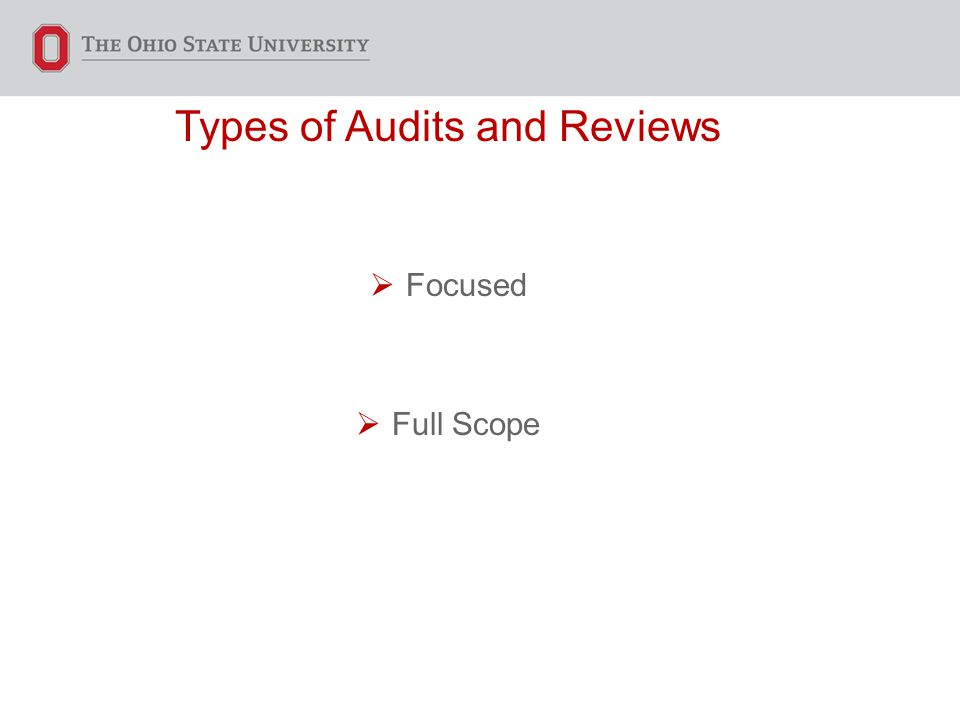 Types of Audits and Reviews  Focused  Full Scope