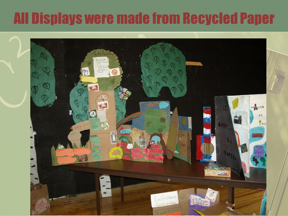 All Displays were made from Recycled Paper