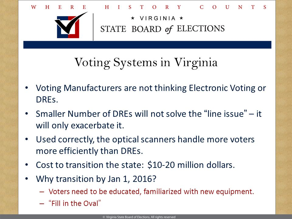 Voting Systems in Virginia Voting Manufacturers are not thinking Electronic Voting or DREs.