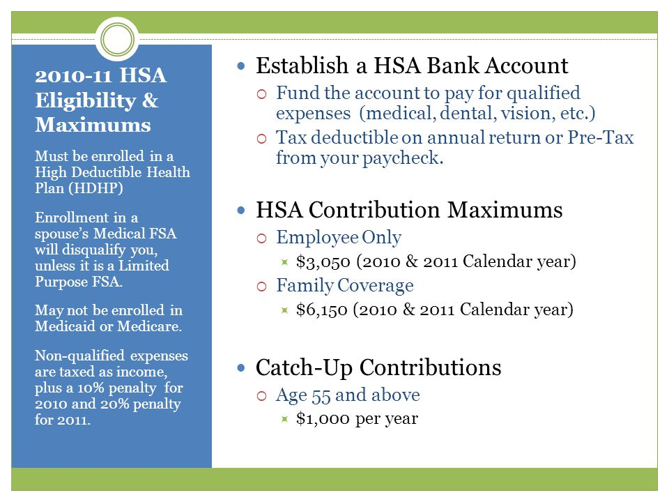 2010-11 HSA Eligibility & Maximums Must be enrolled in a High Deductible Health Plan (HDHP) Enrollment in a spouse's Medical FSA will disqualify you, unless it is a Limited Purpose FSA.