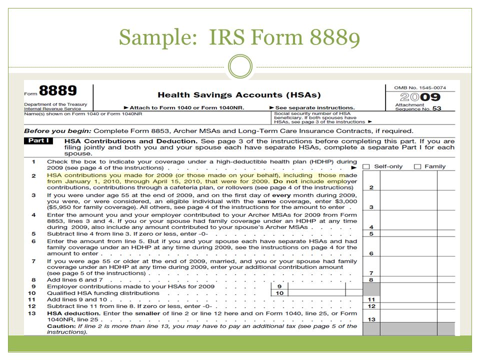 Sample: IRS Form 8889