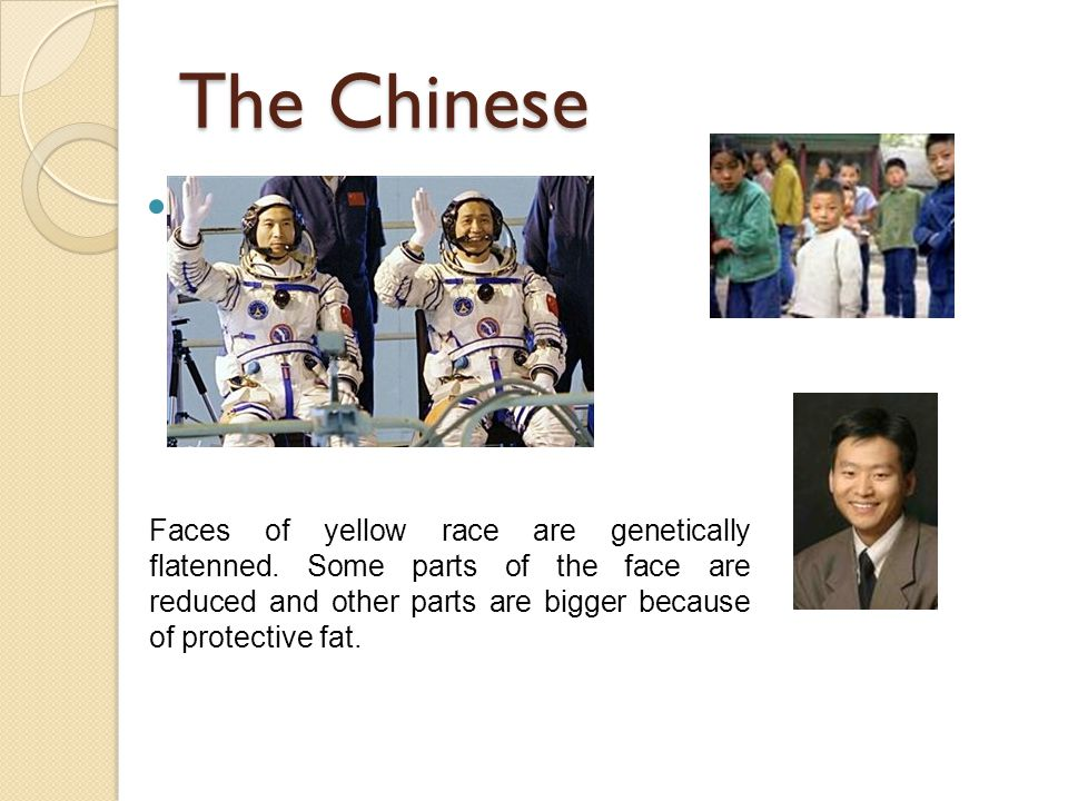 The Chinese Faces of yellow race are genetically flatenned. Some parts of the face are reduced and other parts are bigger because of protective fat.