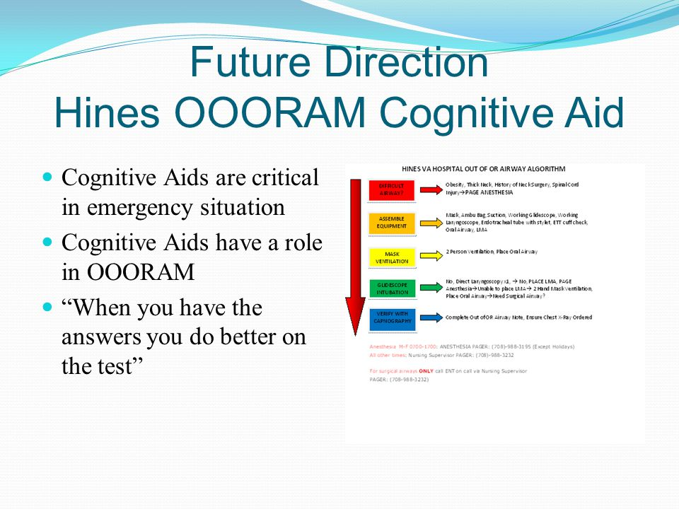 """Future Direction Hines OOORAM Cognitive Aid Cognitive Aids are critical in emergency situation Cognitive Aids have a role in OOORAM """"When you have the"""