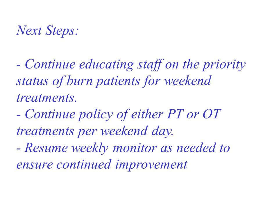 Next Steps: - Continue educating staff on the priority status of burn patients for weekend treatments. - Continue policy of either PT or OT treatments